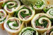 Tortilijų sumuštiniai su sūriu ir kumpiu