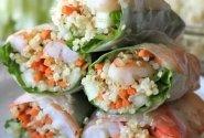 """Kepti suktinukai  """"Spring rolls"""" su daržovėmis ir stikliniais makaronais"""