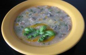 Miško grybų sriuba su triušiena (ar zuikiena)