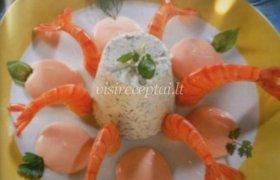 Žalumynų indeliai su krevetėmis