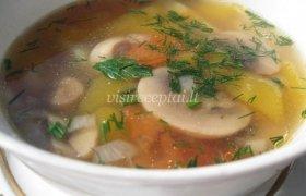 Paprasta pievagrybių sriuba