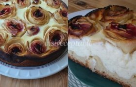 Varškės pyragas su obuolių rožytėmis