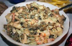 Salotos su krevetėmis ir grybais