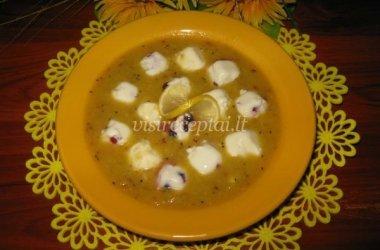 Vaisinė sriuba su želiniais grietinės kukulaičiais