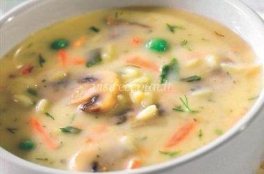Ryžių sriuba su pievagrybiais