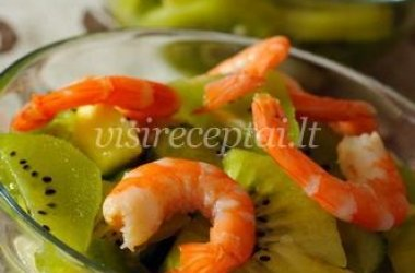 Krevetės su kivi