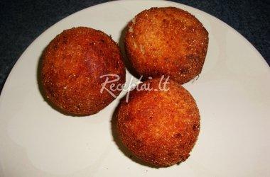 Bulvių košės kamuoliukai su krevetėmis ir sūriu