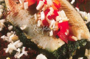 Tilapija su špinatais pomidorų - šafrano padaže