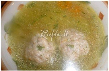 Karšta sultinio sriuba su frikadėlėmis